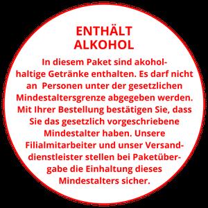 Achtung: In diesem Paket sind akoholhaltige Getränke enthalten. Es darf nicht an Personen unter der gesetzlichen Mindestaltersgrenze abgegeben werden. Mit Ihrer Bestellung bestätigen Sie, dass Sie das gesetzlich vorgeschriebene Mindestalter haben.